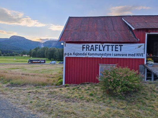 Fraflyttet gård, banner, vindkraft, Kvinesdal