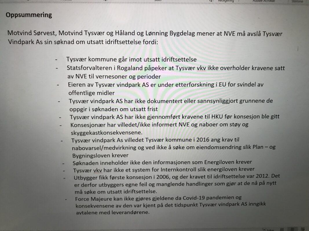 Klage Tysvær, punkter